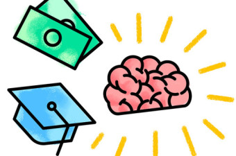 Cartoon of cap, money, brain