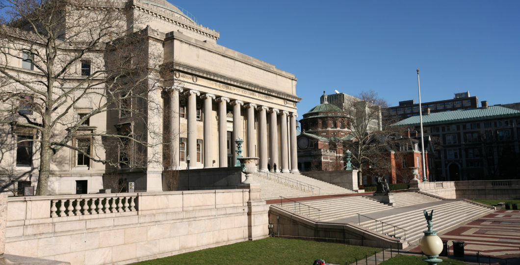 Imposing classical style building at Columbia University library, attended by President Barack Obama.