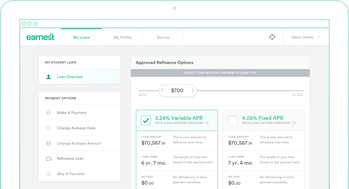 Example of user dashboard